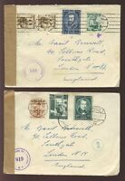 AUSTRIA 1950-51 CENSORED MULTI FRANKINGS to GB...11 stamps on 3 COVERS