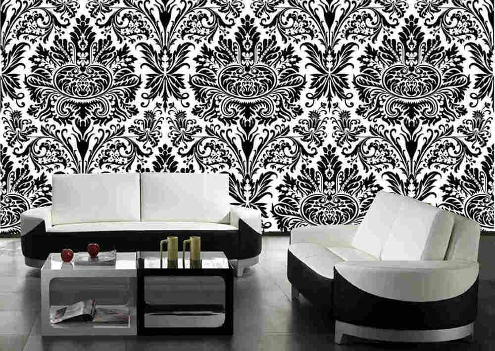 Black white damask wall mural 6 39 wide by 9 39 high ebay for Black white damask wallpaper mural
