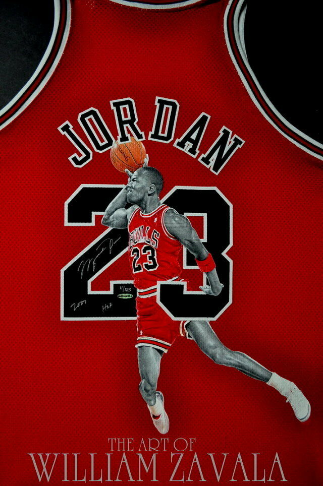 a195a97cc Details about Hand Painted Jersey. By William Zavala. Michael Jordan