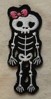 CUTE SKELETON PINK BOW Iron On/Sew On Patch Emo Goth Punk Rock