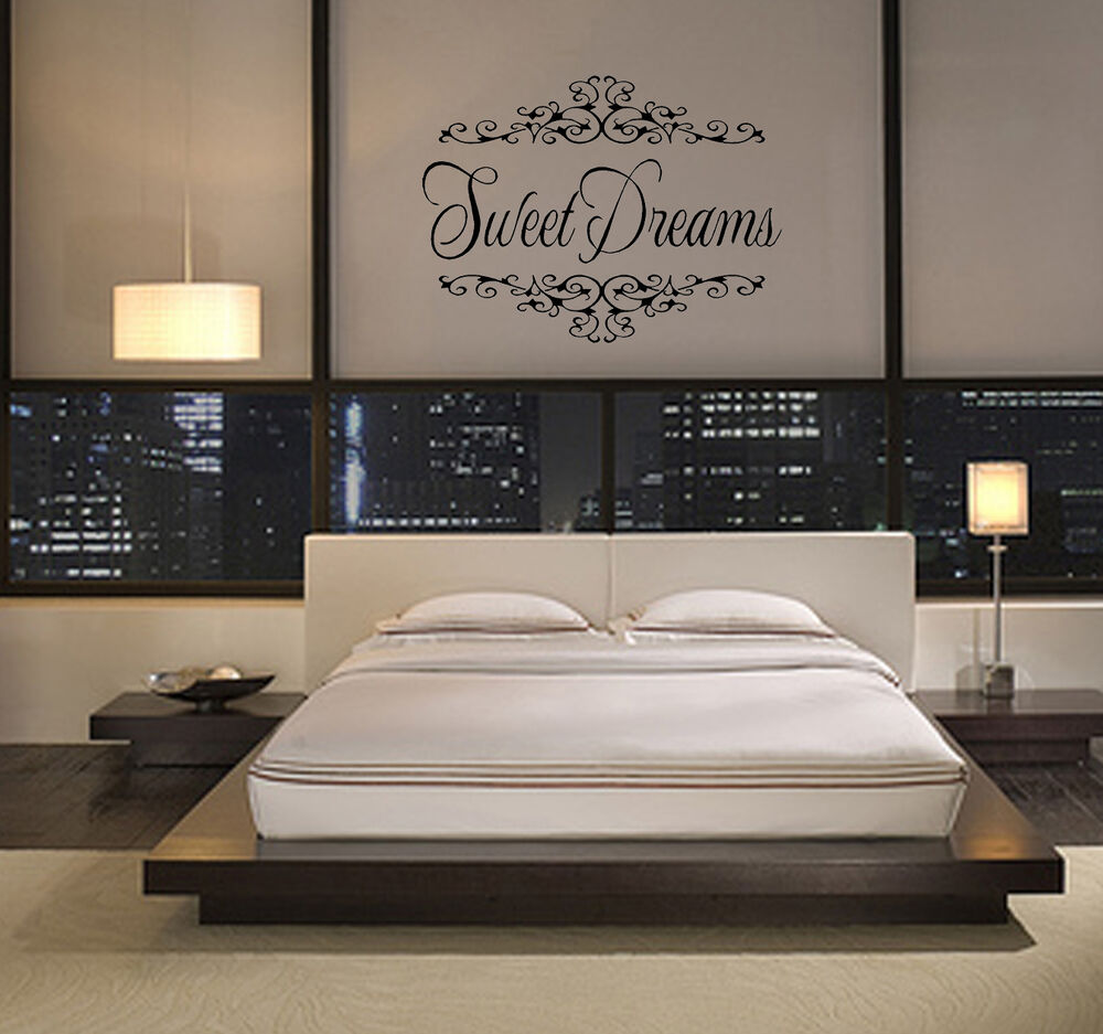 Sweet dreams girls wall art bedroom vinyl decor sticker home decal ebay - Wall designs bedroom ...