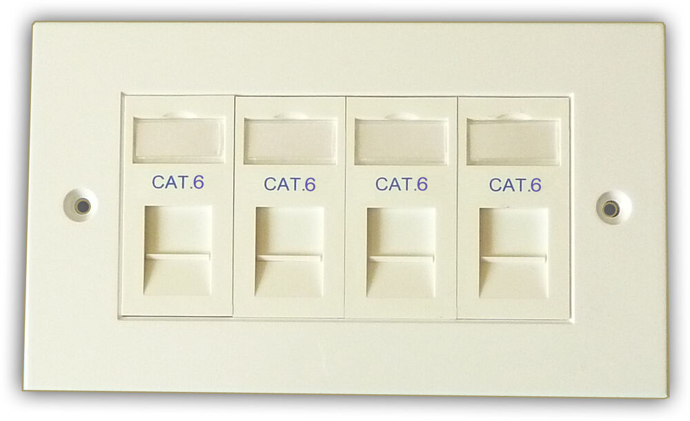 Cat6 4 Way Data Network Outlet Kit Faceplate Modules