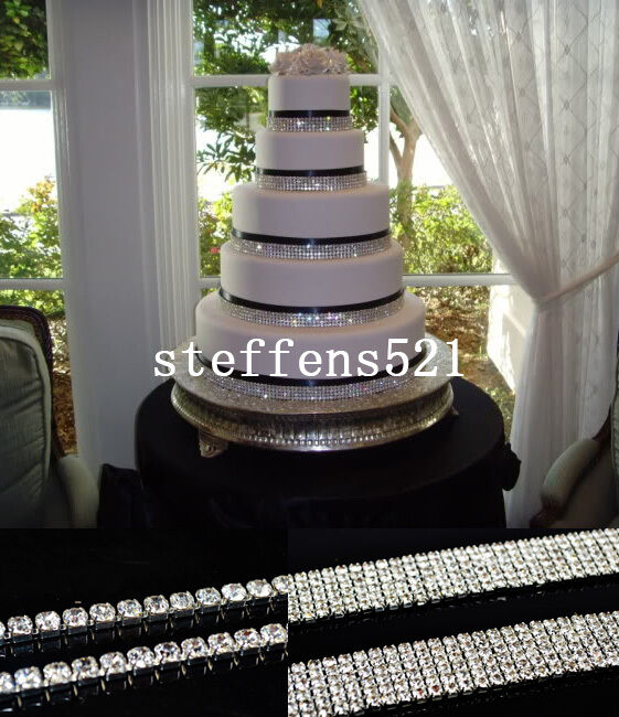 wedding cake ribbon with rhinestones silver rhinestone ribbon 1 rows to 6 rows wedding 23689