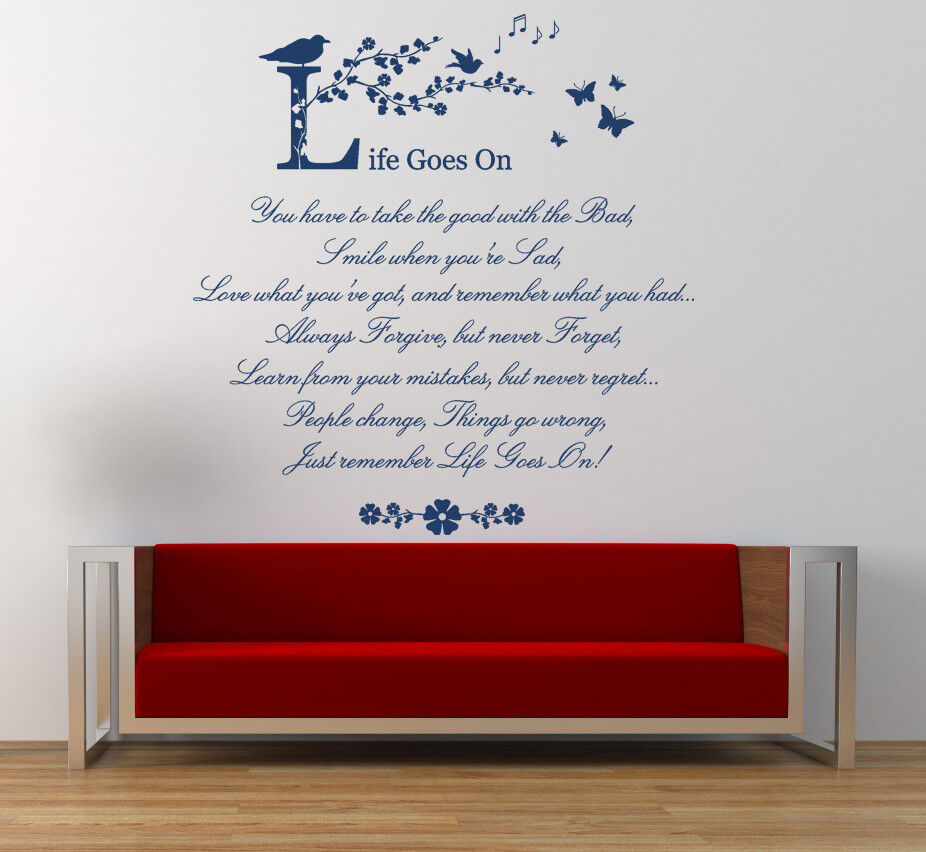 Wall Art Quotes About Life : Life goes on wall art quote poem stickers vinyl