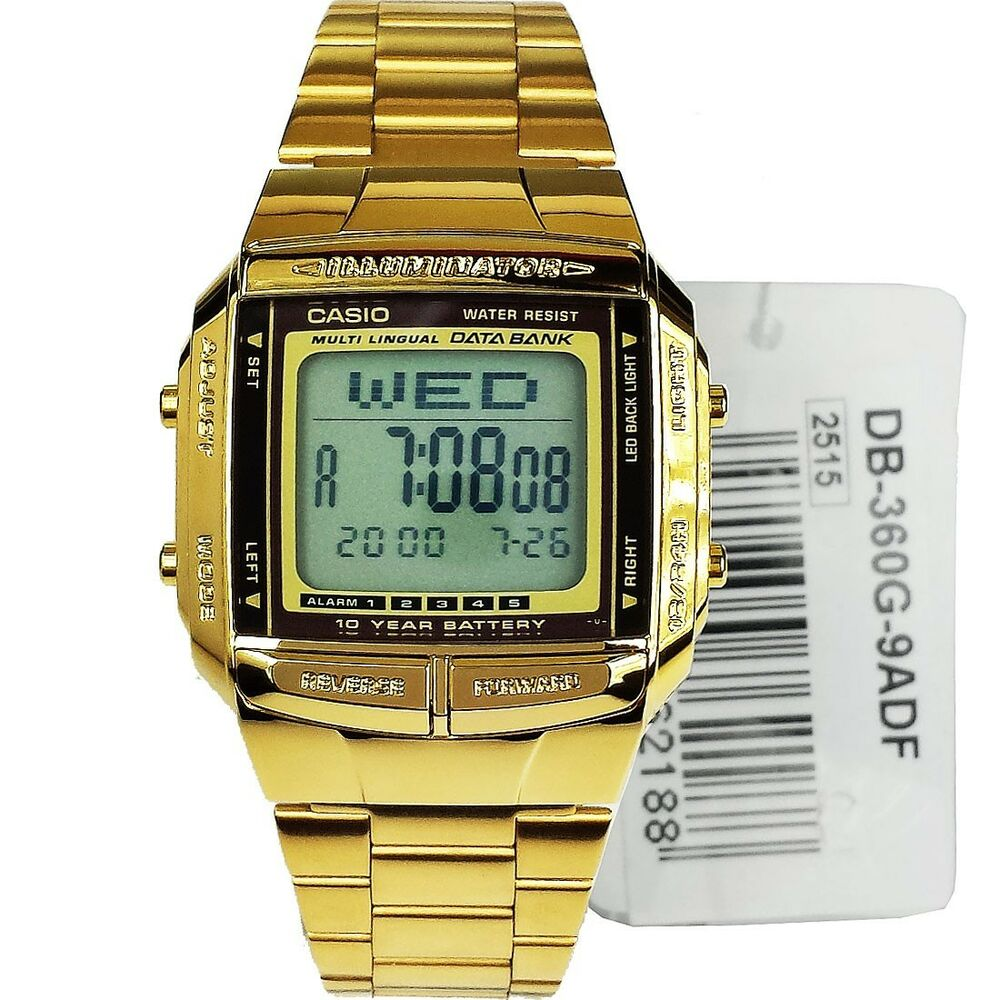 new casio unisex retro digital data bank gold db
