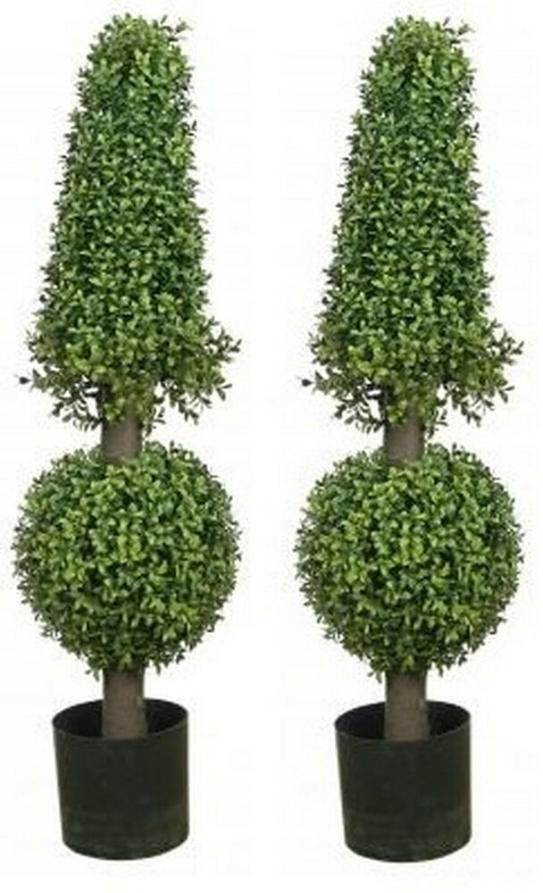 boxwood topiary trees two 38 inch artificial boxwood cone uv topiary trees 1773