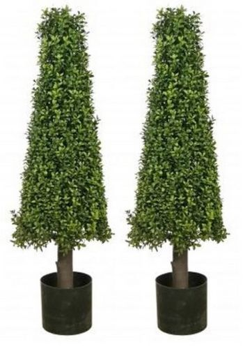 2 Artificial 40 Quot Boxwood Outdoor Uv Topiary Tree Cone 3 4