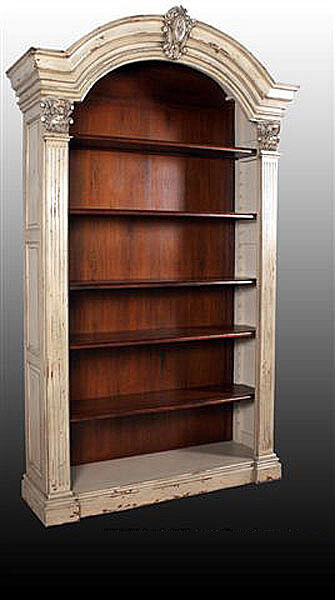 Arched Top Wood Distressed Parchment Bookcase Ebay