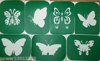 Pack of 7 BUTTERFLIES Vinyl Tattoo Body Art Stencils Glitter-Airbrush Air Brush