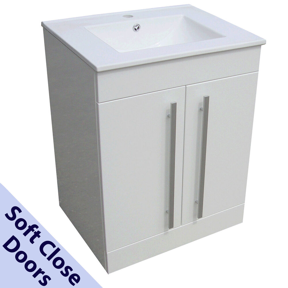 BATHROOM VANITY UNIT BASIN SINK 600MM SQUARE NEW FLOOR