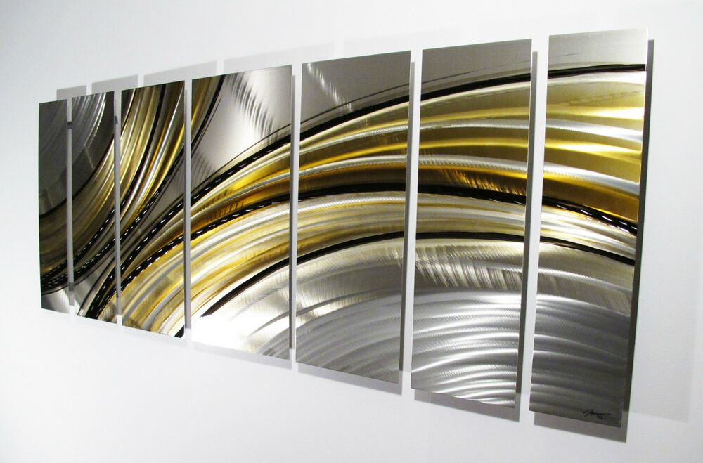 Large metal wall art panels abstract modern silver gold painting home decor ebay - Massieve decoratieve tuin ...