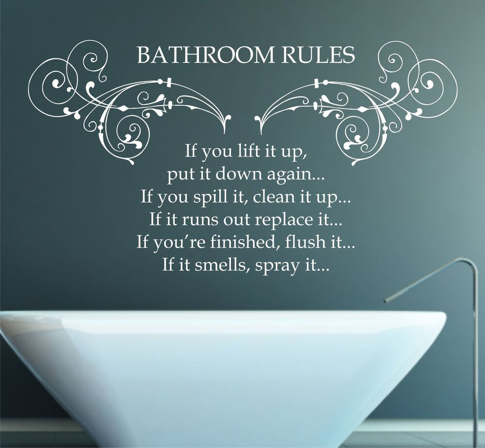 Bathroom rules quote vinyl wall art sticker decal mural for Bathroom wall decor quotes