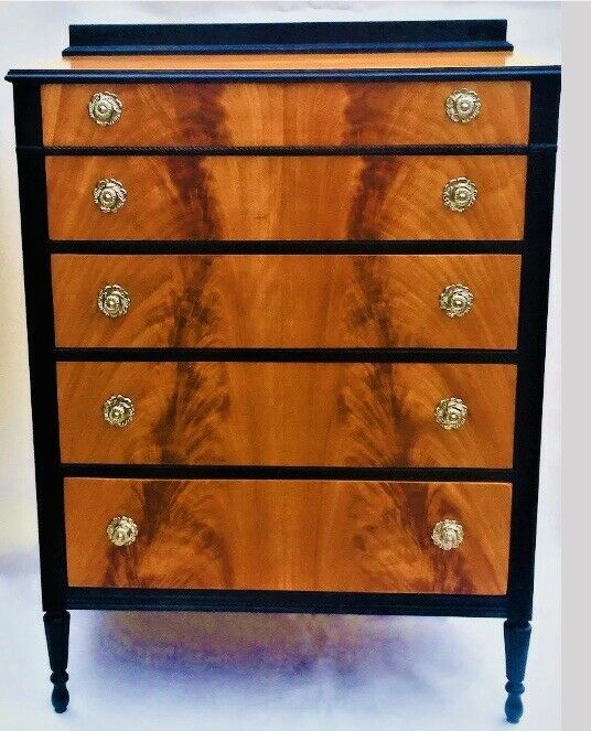 Crotch Flame Mahogany Chest Of Drawers Antique Dresser