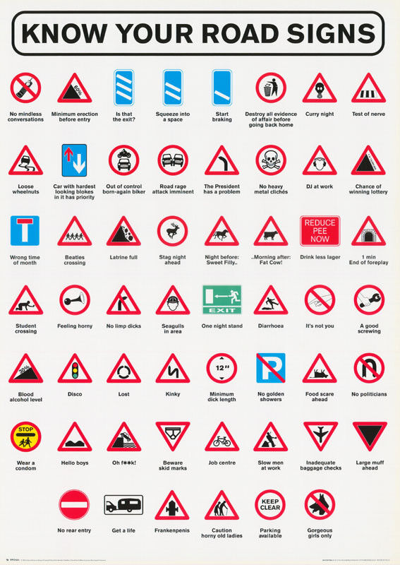 Poster Comical Know Your Road Signs Free Shipping