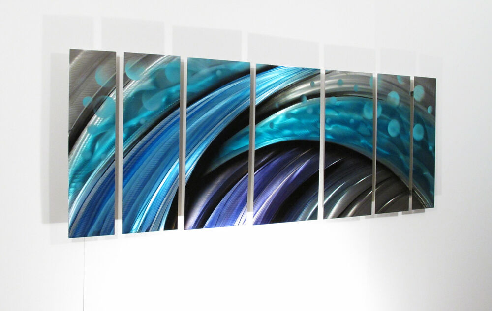 Contemporary Wall Art Decor: Large Metal Wall Art Sculpture Abstract Wave Painting