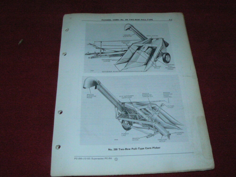 John Deere 200 Corn Picker Dealer U0026 39 S Parts Book