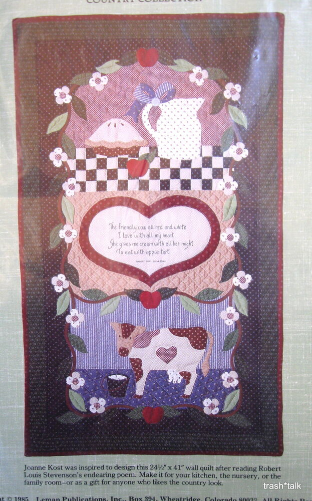 Applique wall hanging quilt pattern cow kitchen apple pie for Kitchen quilting ideas
