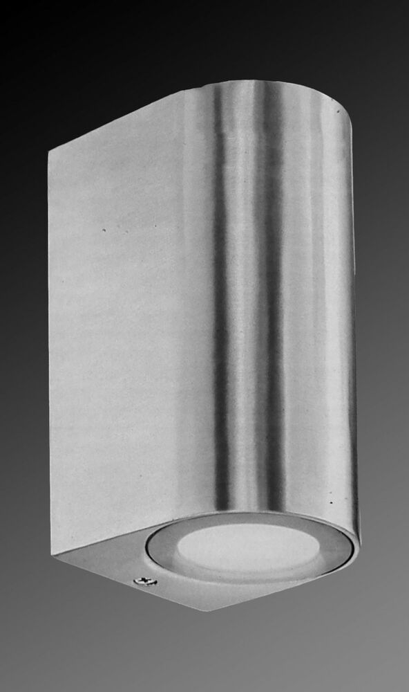 Brushed aluminium up down exterior wall light outdoor ebay for Exterior up down wall light