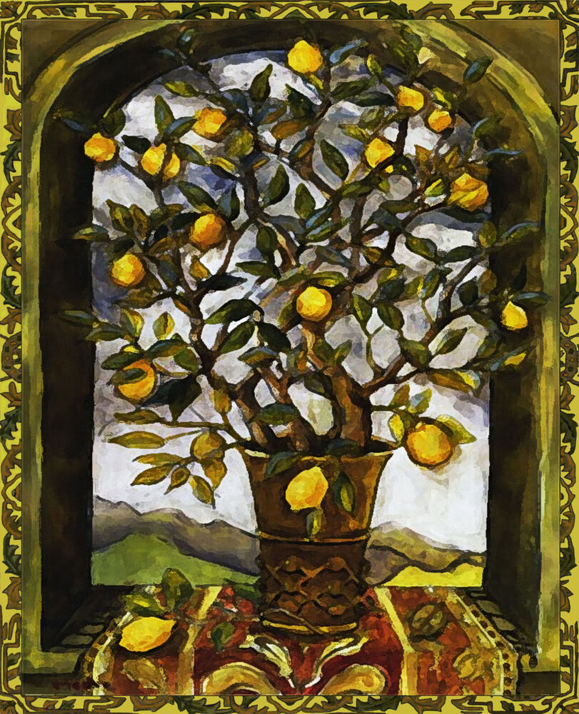 Lemon Tree Art Tile Ceramic Wall Hanging Print Painting Ebay