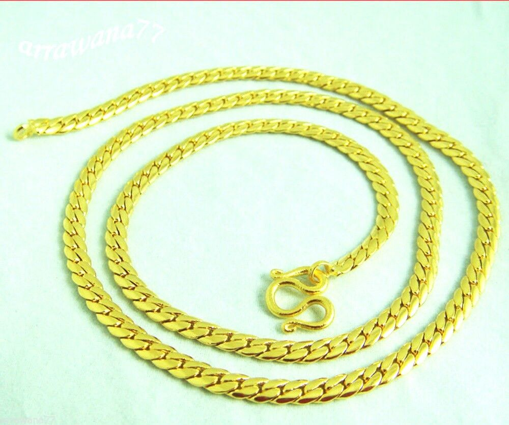 Thai Gold Necklace: 22K 23K 24K THAI BAHT YELLOW GOLD GP 18 Inch NECKLACE
