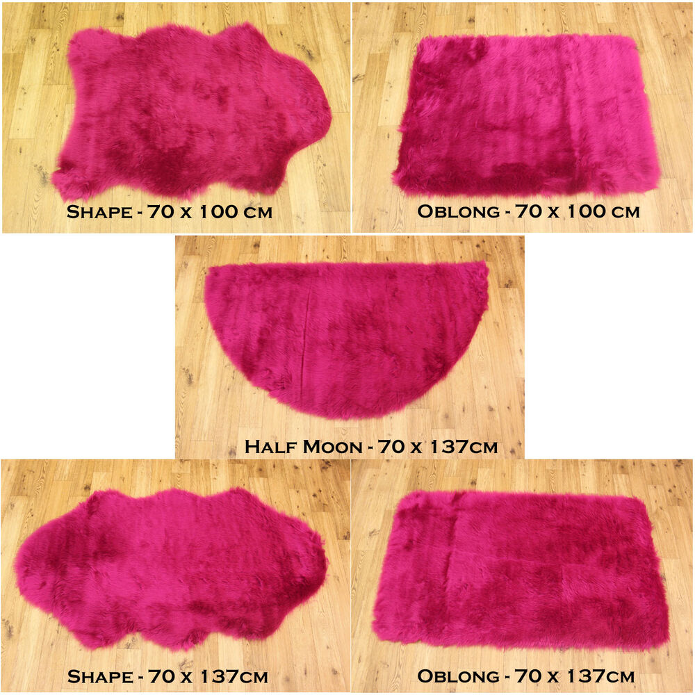 NEW SOFT FLUFFY PLAIN WASHABLE FUSCHIA PINK COLOUR FAKE
