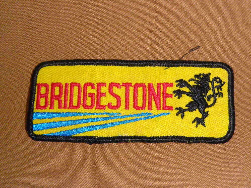 Vintage bridgestone tires embroidered patch employee for Mechanic shirts custom name patch