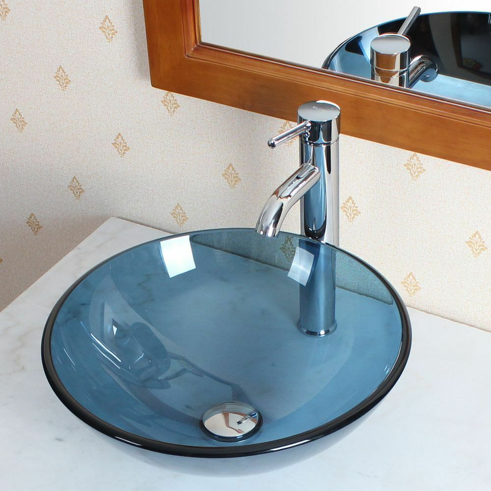 Bathroom clear blue glass vessel sink chrome faucet for Plumbing a bathroom sink