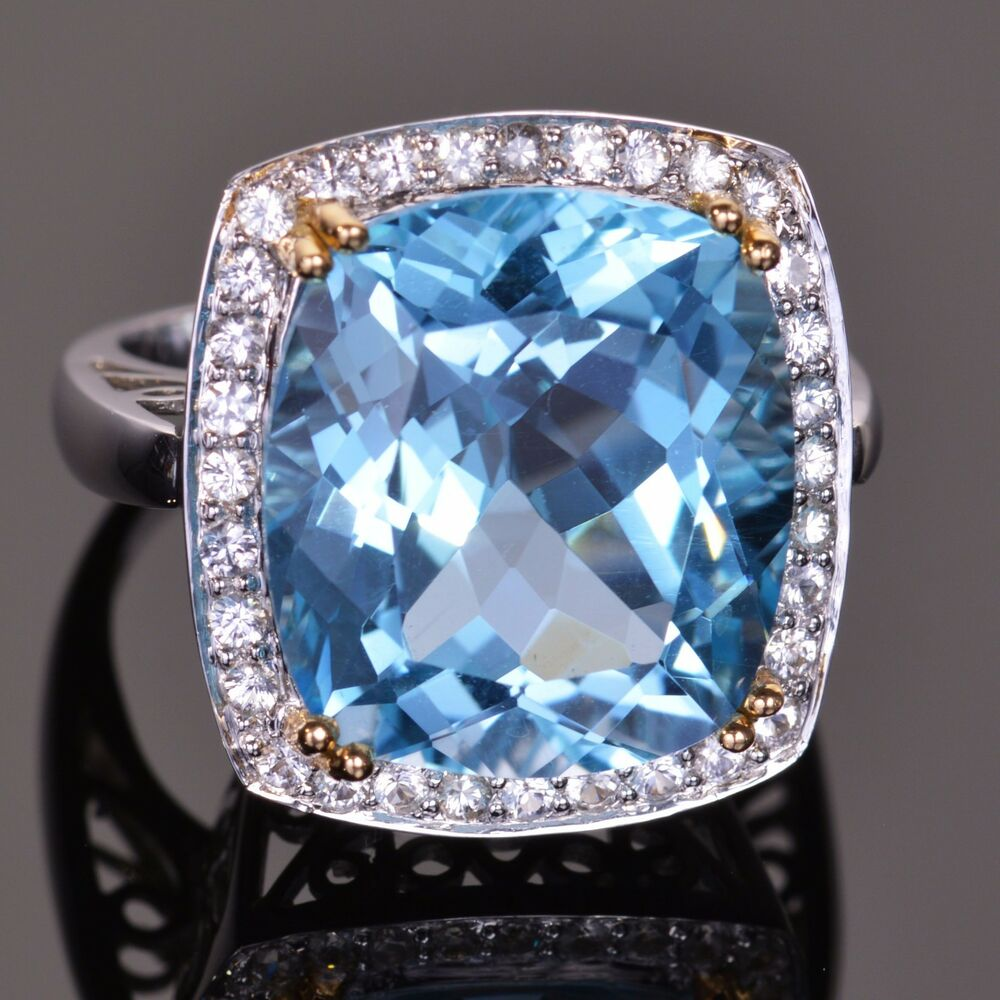 Cashion (AZ) United States  city pictures gallery : 14k White Gold Cushion Cut Blue Topaz and White Sapphire Cocktail Ring ...