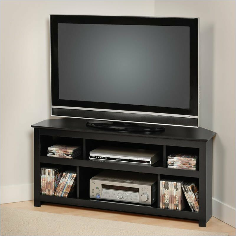 vasari flat panel plasma corner tv stand in black new dvd vcr tv stand ebay. Black Bedroom Furniture Sets. Home Design Ideas