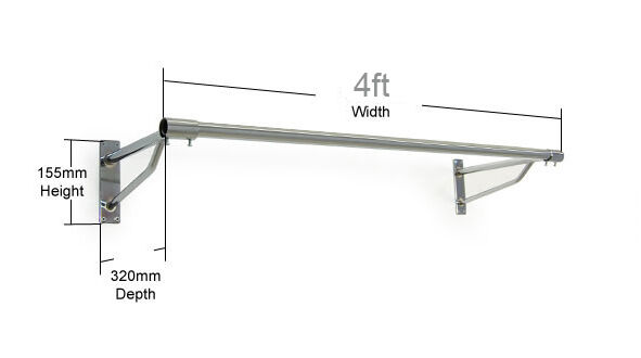 4ft Long Clothes Rail Wall Mounted Screw Fix Chrome