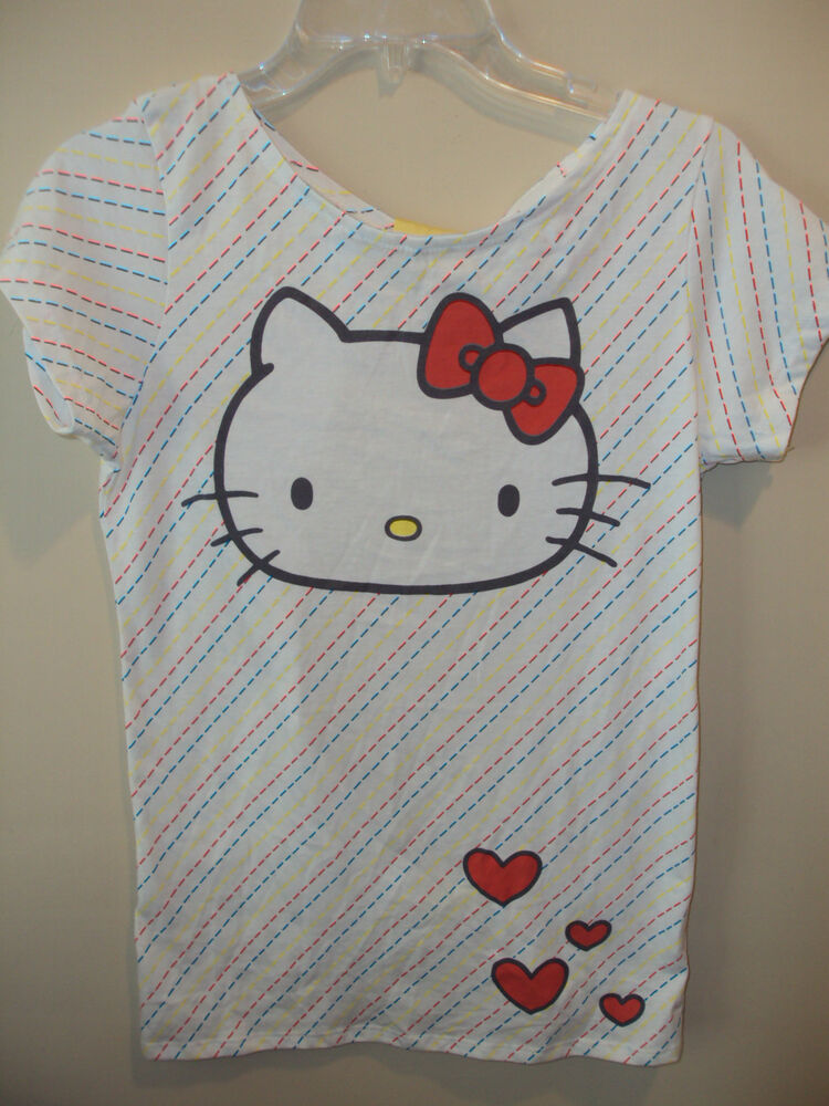 Hello kitty white backless shirt w kitty face t shirt for Hello kitty t shirt design