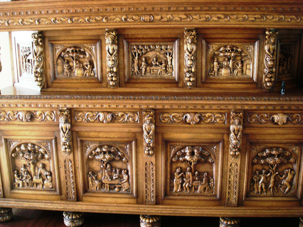 Antique Wooden Sideboards ~ Elizabethan solid wood antique heavily carved buffet