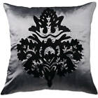 damask grey- silver & black cushion covers