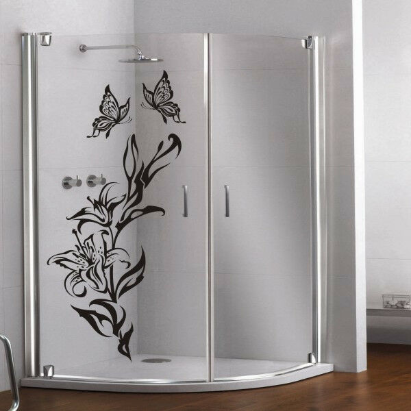 glas dekor aufkleber fenster dusche bad tattoo lilie schmetterling glasdekor 51 ebay. Black Bedroom Furniture Sets. Home Design Ideas