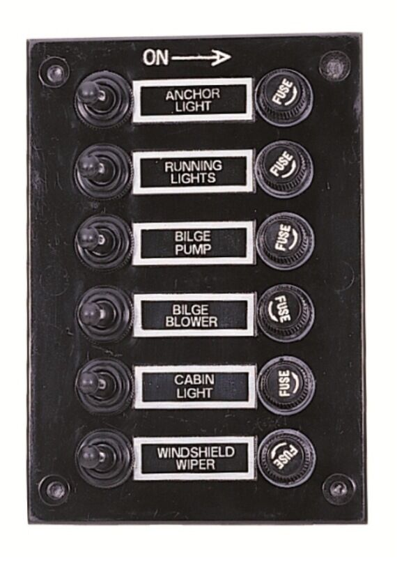 marine 6 gang fuse switch panel 12v waterproof black. Black Bedroom Furniture Sets. Home Design Ideas