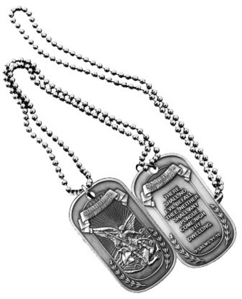 ST Michaels Dog Tags ARCHANGEL Military Spiritual Psalm 91 ...