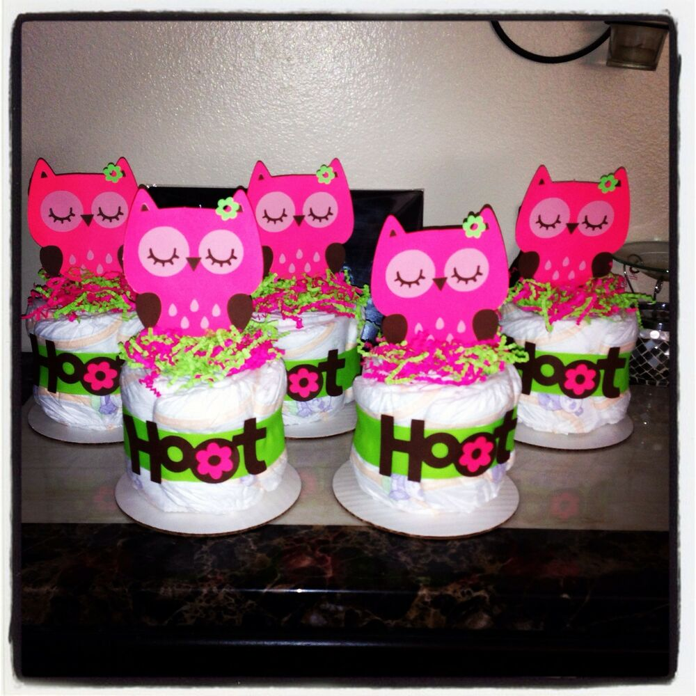 Cake Centerpieces For Baby Shower : Owl Diaper Cake Minis / Baby Shower Gifts / Birthday ...