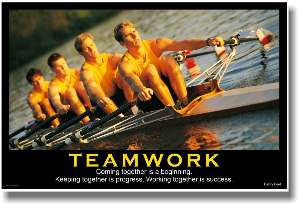 New Motivational Teamwork Poster Henry Ford Quote Sports Rowing Crew Team Ebay