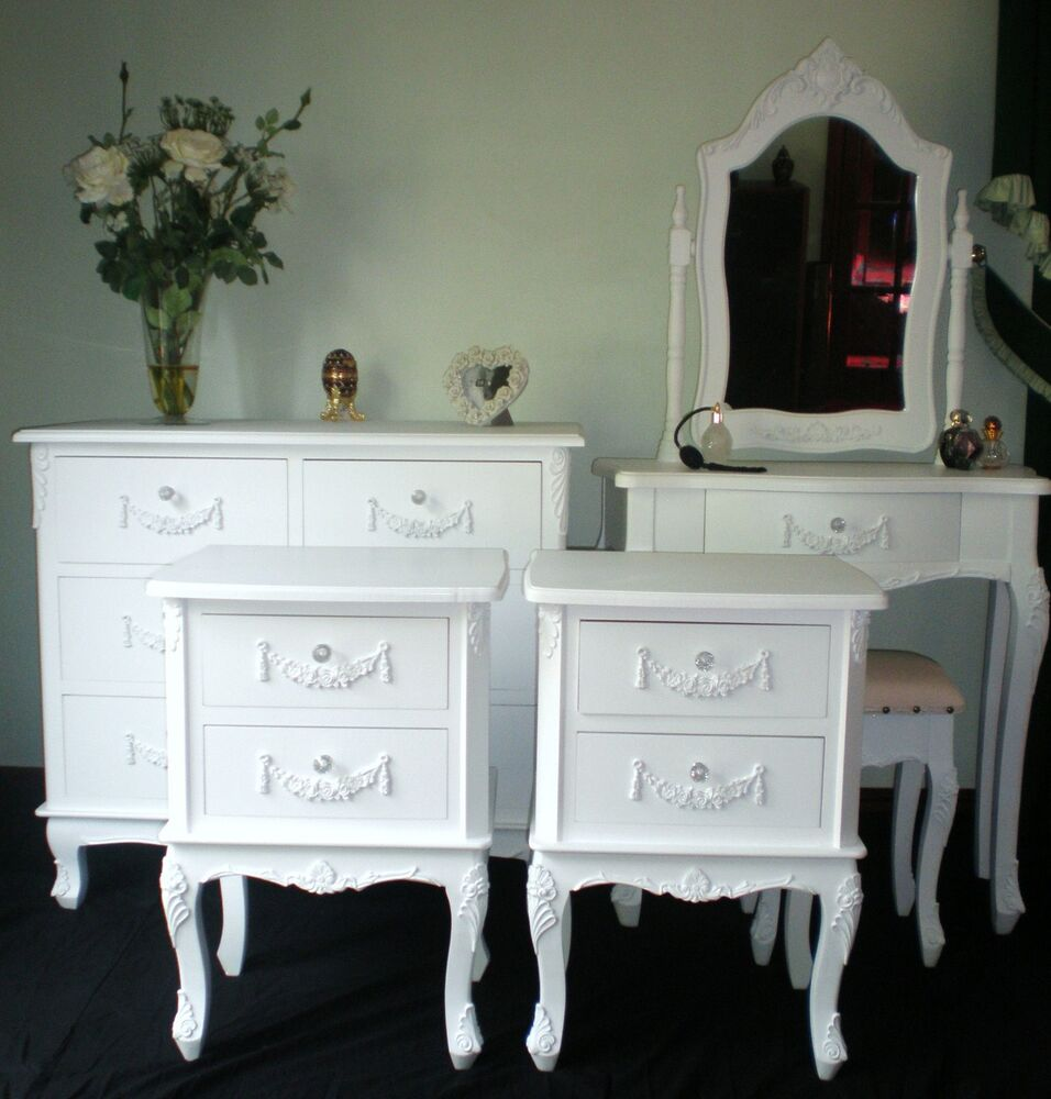Shabby chic bedroom set french style furniture white with for French style bedroom furniture