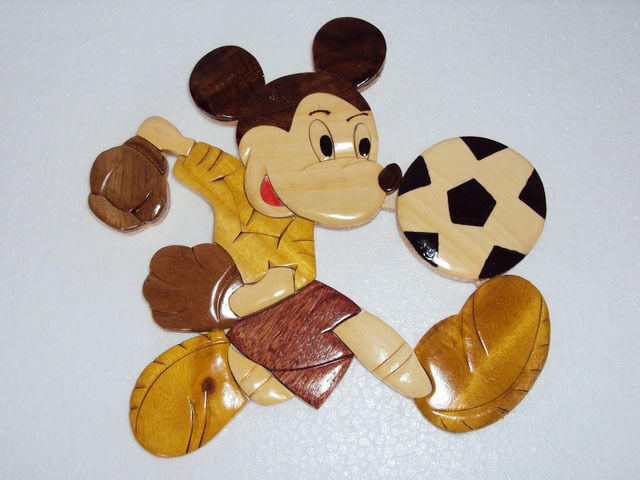 Hand Carved Wood Art Intarsia Mickey Mouse Play Football