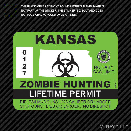 Kansas zombie hunting permit sticker die cut decal usa for Kansas fishing license online