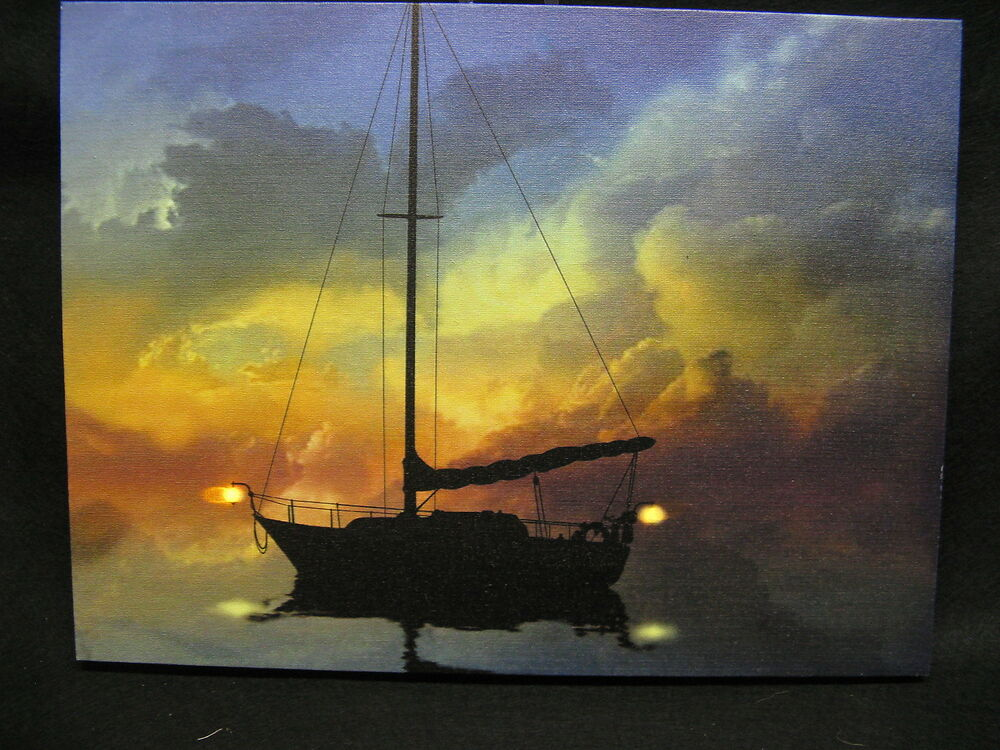 Sail Boat Lighted Canvas Wall Decor Sign Sea Ebay