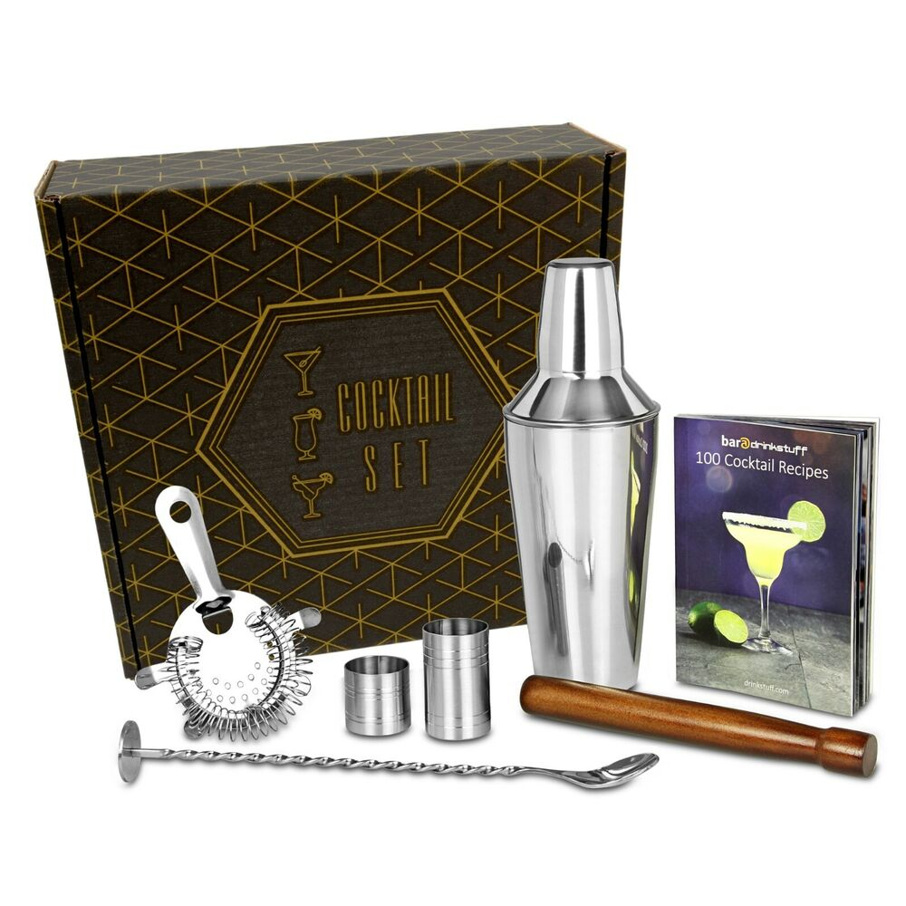 manhattan cocktail shaker gift set with recipe book and accessories ebay. Black Bedroom Furniture Sets. Home Design Ideas
