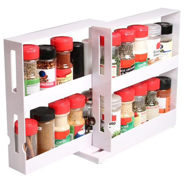 Kitchen Shelf Organiser: SPICE BOTTLES SWIVEL STORE KITCHEN TIDY HOLDER TRAY SHELF