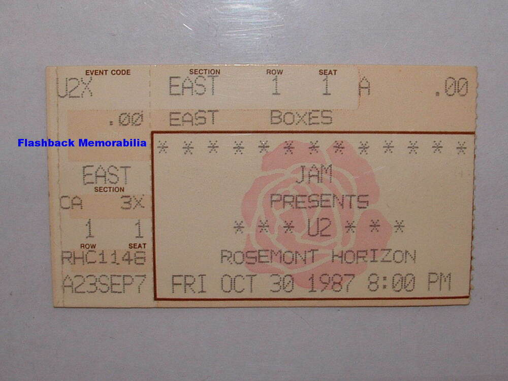 u2 1987 concert ticket stub chicago rosemont horizon joshua tree very rare bono ebay. Black Bedroom Furniture Sets. Home Design Ideas