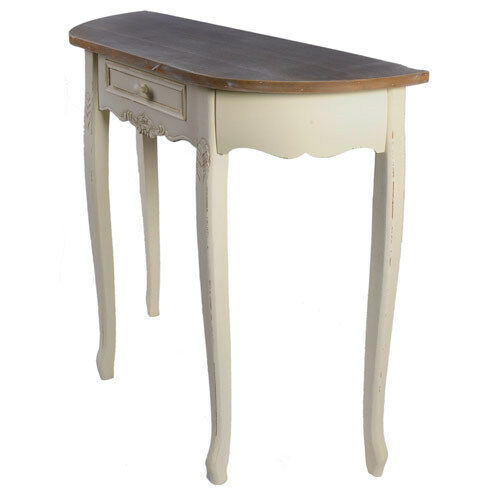 Shabby chic side half moon hall table 31quot victorian style for Cream hall table