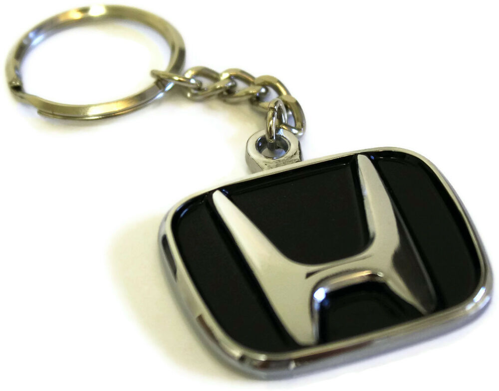 Honda Logo Key Chain Mirror Chrome Metal AUTHENTIC Key ...