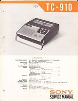 SONY TC-910 SERVICE MANUAL for an AUDIOCASSETTE RECORDER