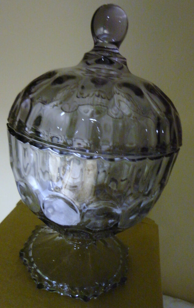 Sorelle hand crafted crystal purple sundae bowl with lid for Handcrafted or hand crafted