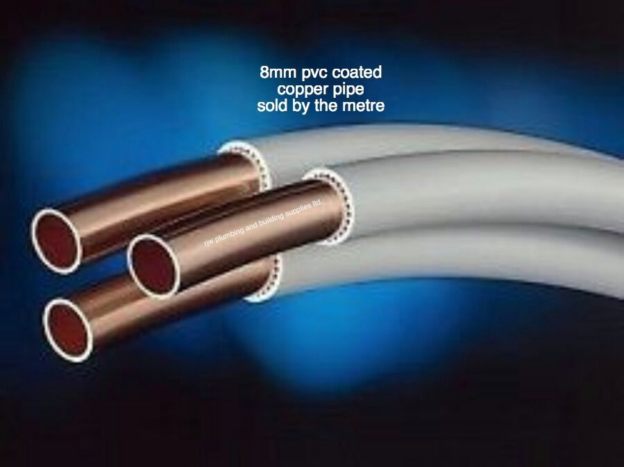 8mm copper pvc coated tube pipe sold per metre suitable for Copper pipe to plastic pipe
